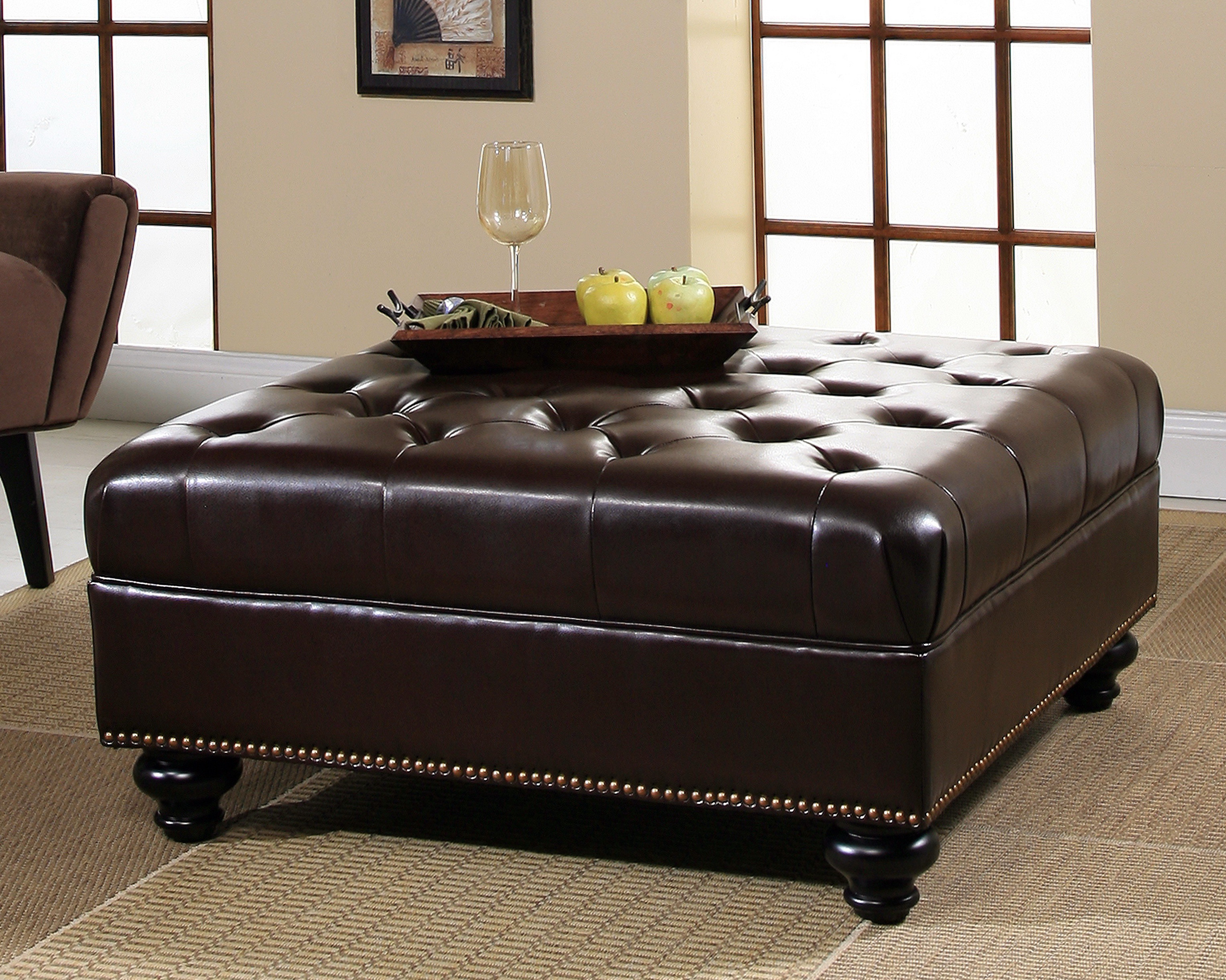 Beau Brown Leather Square Storage Ottoman