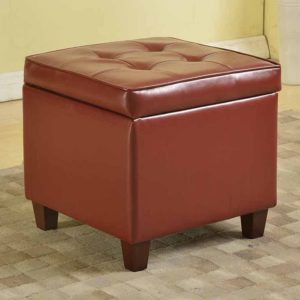 HomePop Faux-Leather Storage Ottoman