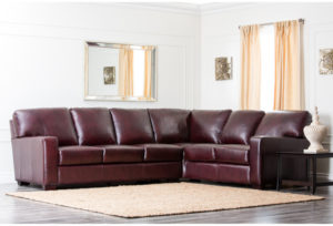 Abbyson Living Havana Premium Hand Rubbed Leather Sectional Sofa