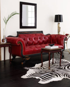 Old Hickory Tannery Red Tufted-Leather Sofa