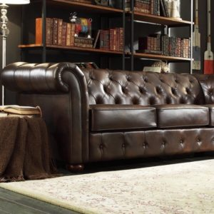 Tribecca Home SIGNAL HILLS Knightsbridge Brown Bonded Leather Tufted Scroll Arm Chesterfield Sofa