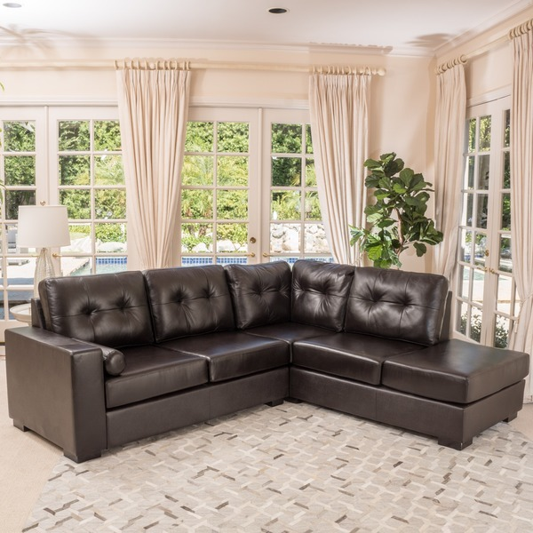 Christopher Knight Home Elisa 2 Piece Brown Leather Sectional Sofa