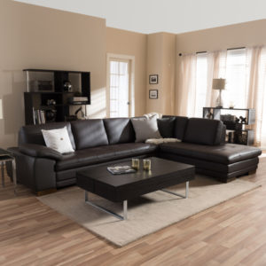 Baxton Studio Diana Dark Brown Leather Sectional Sofa Set