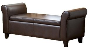 Henry Leather Storage Ottoman Bench Brown - Abbyson Living