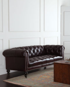 Old Hickory Tannery Morgan Aubergine Tufted Leather Sofa