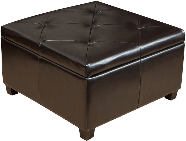 Jcpenney Prescott Tufted Bonded Leather Storage Ottoman