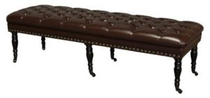 Hastings Brown Tufted Bonded Leather Ottoman Bench Foggy Brown - Christopher Knight Home