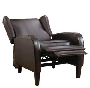 Carter Wing-Back Bonded Leather Recliner Chair Brown - Christopher Knight Home