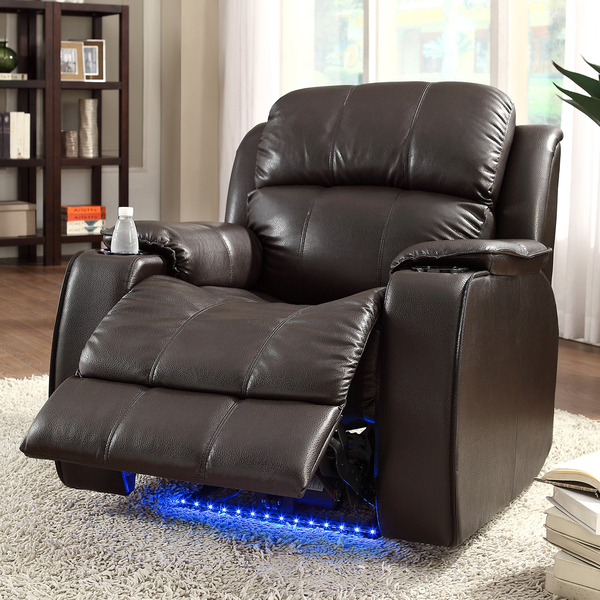 TRIBECCA HOME Garrett Power Recliner Brown Bonded Leather Chair : leather power recliner chair - islam-shia.org