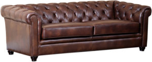 One Kings Lane Royal 86 Tufted Leather Sofa, Chestnut