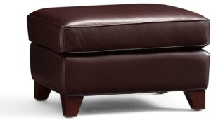 Hastings Brown Tufted Bonded Leather Ottoman Bench Foggy