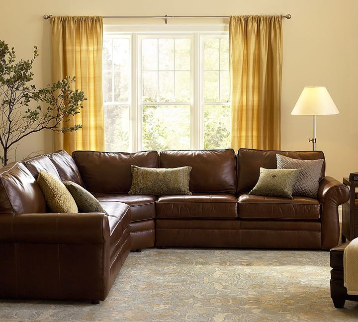 Pearce Leather 3 Piece L Shape Sectional With Wedge