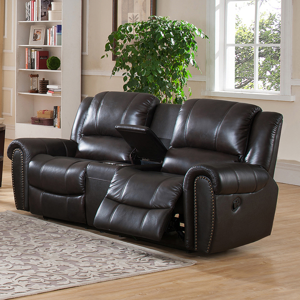 Amax Charlotte Top Grain Leather Reclining Loveseat with Memory Foam and USB Ports