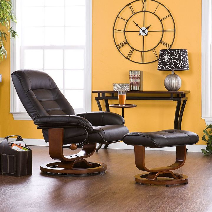 Southern enterprises Leland Black Leather Recliner & Ottoman