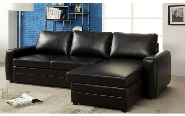 Kopervik Black Bonded Leather Sectional Sofa
