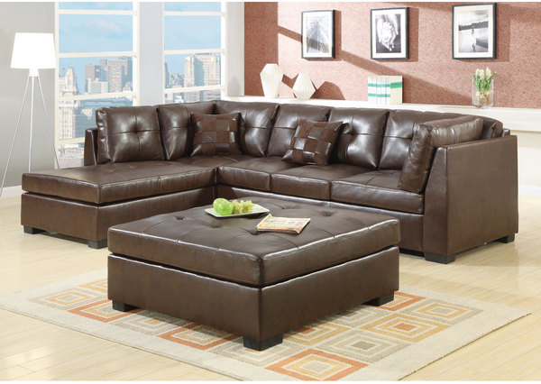 Coaster Brown Leather Sectional with Chaise