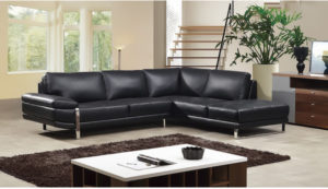 American Eagle Black Italian Leather Sectional With Left Chaise