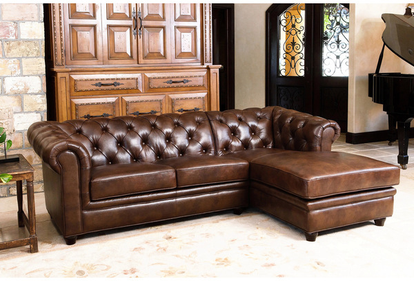 Abbyson Living Tuscan Tufted Top Grain Leather Chaise Sectional ...