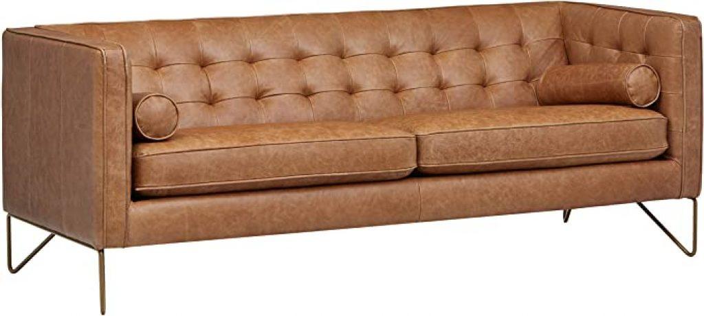 Rivet Brook Mid Century Modern Leather Sofa