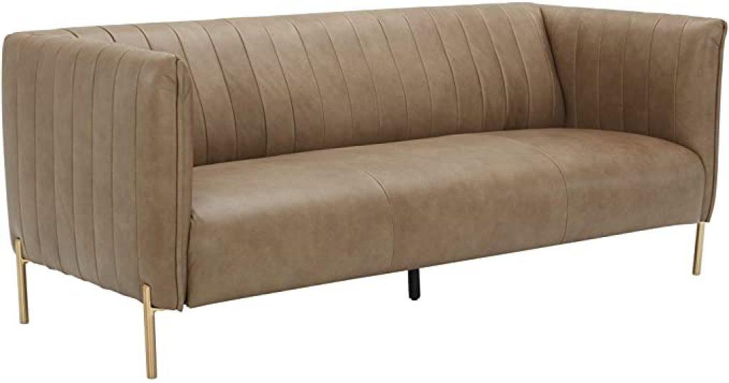 Rivet Frederick Mid Century Modern Leather Sofa