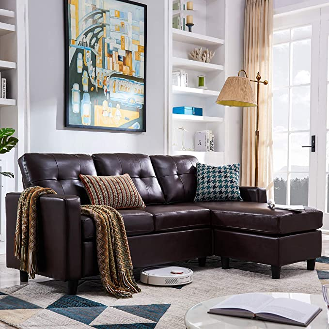 Honbay Convertible Sectional Sofa Couch Leather